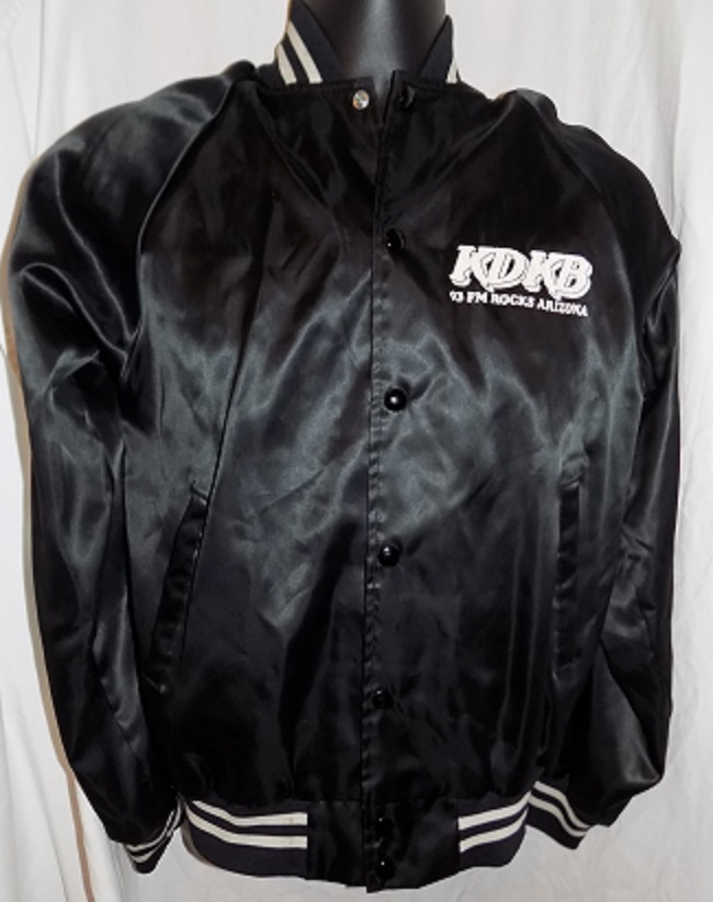This Auction Is For A KDKB 93 FM ROCKS ARIZONA BLACK SATIN JACKET Snap Front Flannel Lined Black And White Stretch Knit Collar Cuffs Nice Condition